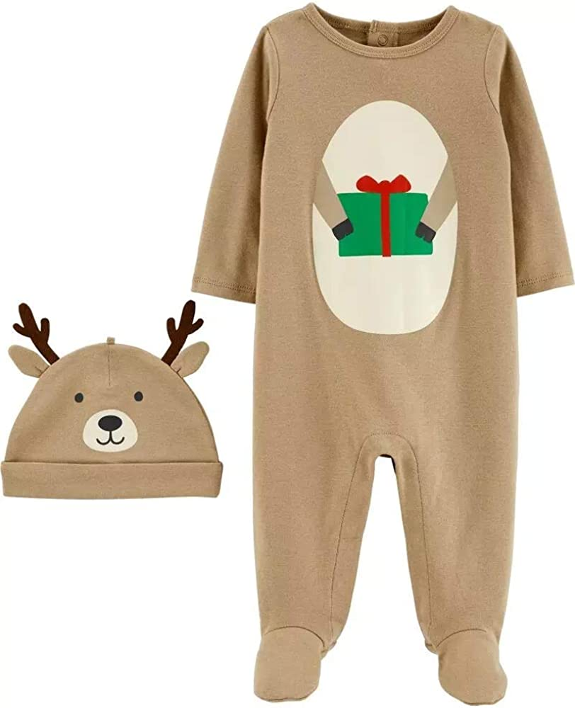 Carter's Baby 2-Piece Snowman and Reindeer Coverall & Hat Set for Christmas Brown, 3 Months