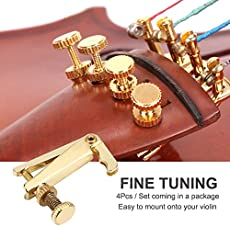 Violin Fine Tuners, String Fine Adjuster Tuners Musical Instrument accessory for 3/4 4/4 Violin (Gold) (4Pcs)
