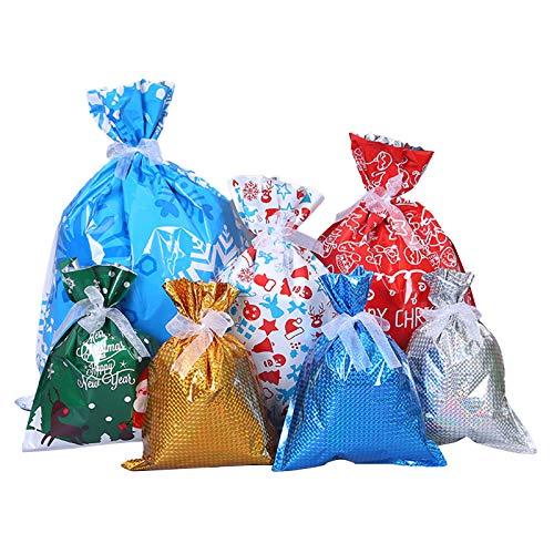 Homeriy 30Pcs Bolsas de Regalo de Navidad Bolsas de Envoltura Variadas Dulces Golosinas Bolsas para Cumpleaños Fiesta de Navidad Favor