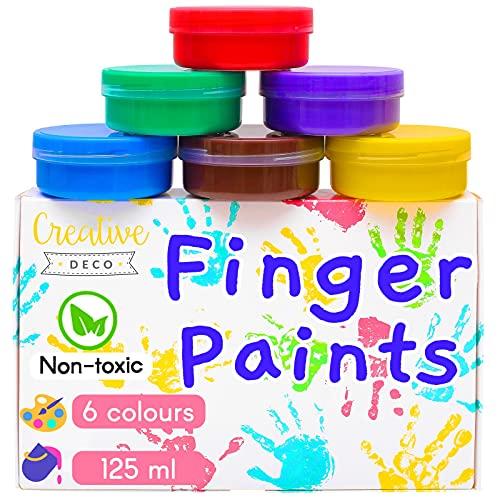 Creative Deco Fingerfarben Kinder Ungiftig | 6 x 125 ml Becher | Intensive Farben | Set für Kleinkinder | Sicher & Ungiftig | Wasserbasiert | Bastel-Farbe Plakat-Farbe Schulmalfarben Fingermalfarben