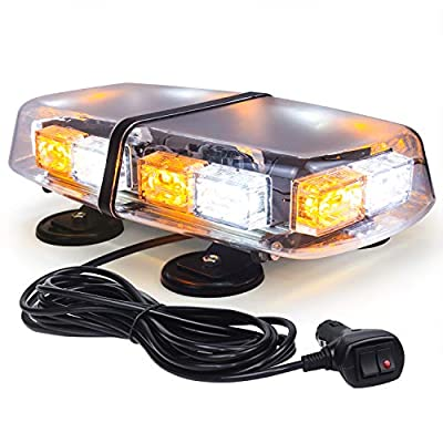 Linkitom LED Strobe Flashing Light -72 LED High Intensity Emergency Hazard Warning Lighting with 4 Heavy Duty Strong Magnets and 16 ft Straight Cord for Truck Vehicle Roof Safety (Amber & White)