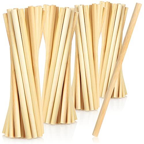 COM-FOUR® 40x cannuccia di bambù - Cannucce biodegradabili - Cannucce di bambù ecocompatibili - Tubi per bere sostenibili in legno di bambù (40 pezzi - bambù)