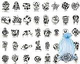 Xiton Paquete de 40 PC (Aprox.) Perlas del Metal Plateado Plata Antigua oxidadas encantos Conjunto porción de la Mezcla - Pulseras compatibles