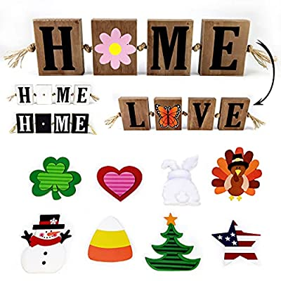 Amazon - 45% Off on  Rustic Home Sign & Love Sign with 10-PC Interchangeable Holiday 2-Side Cutout