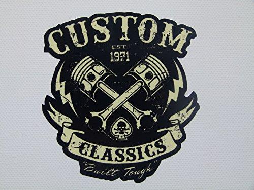 MG010 / Aufkleber 8x9cm Anarchy Custom Classic V2 Chopper Biker Old School Vintage Rockabilly