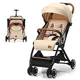 BABY JOY Lightweight Baby Stroller, Easy Fold Compact Toddler Travel Stroller, Infant Stroller with 5-Point Harness, Adjustable Backrest/Footrest/Canopy, Large Storage Basket, One-Step Brake (Beige)