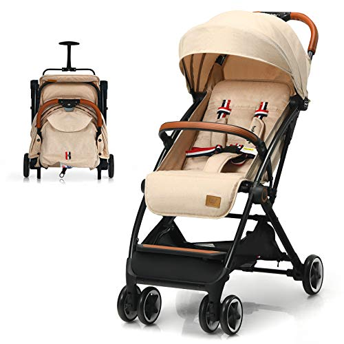 COSTWAY Lightweight Baby Stroller, One-Hand Foldable Infant Pushchair with 5-Point Harness, Adjustable Backrest/Footrest/Canopy, Compact Travel Buggy for 0-3 Years (Beige)