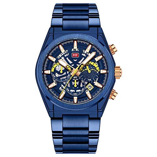 Flytise, Reloj clásico de Cuarzo para Hombre, cronógrafo analógico, Reloj de Pulsera de Negocios con Calendario, 3ATM, Reloj de Vestir con Esfera Luminosa Impermeable