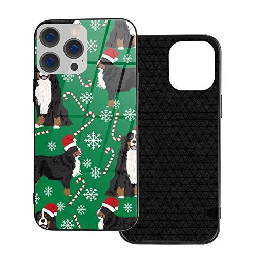 Compatible con iPhone 12 Pro Max, carcasa resistente de cuerpo completo, funda de vidrio TPU suave para iPhone 12 Pro Max 6.7 pulgadas, Bernese Mountain Dog Candy Canes invierno copos de nieve perro
