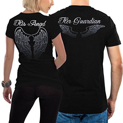 VIVAMAKE - Angel Tshirt - Partner-T-Shirt – 2 Stück - Couple-Shirt Geschenk Set für Verliebte – Partner-Geschenke – Bestes Geburtstagsgeschenk – Partnerlook - Schwarz - Damen M - Herren M
