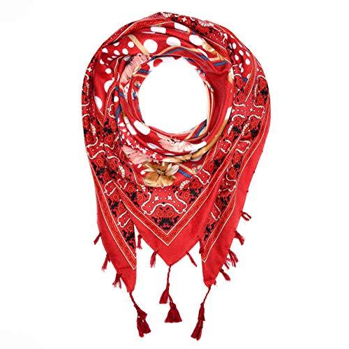 Autiga Damen Schal mit Fransen Blumen Punkte Dots Dreieckstuch Halstuch quadratisch Patchwork-Look rot-rosa