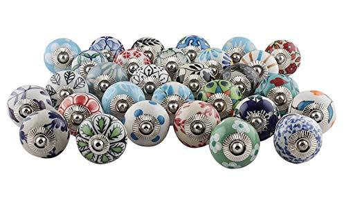 IndianShelf Handcrafted 15 Piece Ceramic Multicolor Knobs Floral Artistic Rust Free Dresser Knobs Drawer Pulls Vintage Cabinet Handles Designer Gift