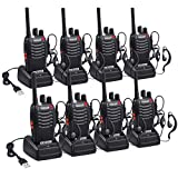 Walkies Talkies Recargable 16 Canales Walky Talky Profesional VOX 3 km Distancia 8 Horas Radio con Pinganillos Clip de Fijación para Supermercado Seguridad Construcción Restaurante -4 Pares