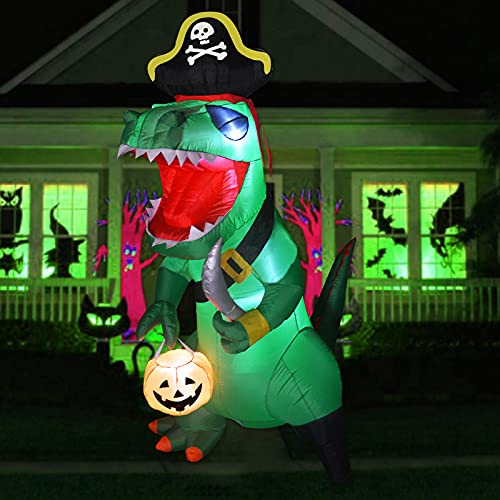 GOOSH 7 FT Tall Halloween Inflatables Outdoor Pirate Dinosaur, Blow Up Yard Decoration Clearance with LED Lights Built-in for Holiday/Party/Yard/Garden