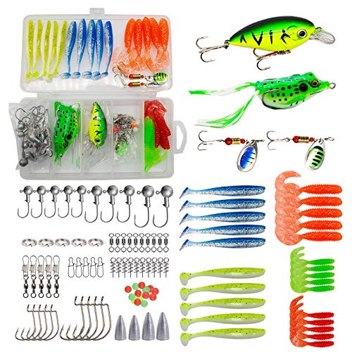 99pcs Fishing Lures Kit Set, Including, Crankbaits, Spinner Lures, Frog Lures, grub Lures, Soft Paddle Tail Baits and Tackle Box, for Bass, Trout, Salmon