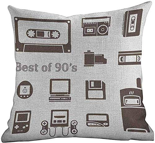 DKISEE kussenhoezen Custom 90s, gadget van 90s Icons patroon met desktop computer video game Joystick Nostalgia Theme Print,Brown, Custom Throw Pillow Case Pillow Cover