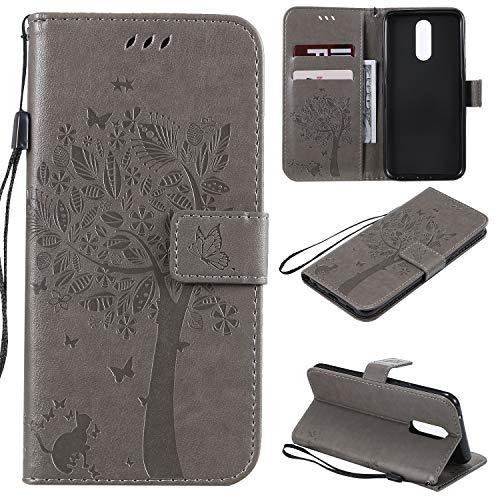 Nancen Compatible with Handyhülle LG K40 / K12 Plus Hülle, Flip-Hülle Handytasche - Standfunktion Brieftasche & Kartenfächern - Baum & Katze - Gray