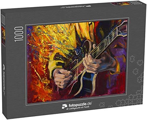 fotopuzzle.de Puzzle 1000 Teile Jazzgitarristen Hände, Gitarre Spielen, mit Buntem Fantasy-Hintergrund. Originalkunstwerk in Acryl auf Leinwand