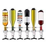 Cocoarm Liquor Dispenser, 4/6 Bottle Wall Mounted Liquor Dispenser Bottle Beverage Stand Wall Bracket Drink Wine Dispenser(6-Bottle)