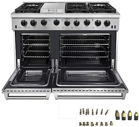 Thor Kitchen 48 inch Freestanding Pro Style Double Oven Professional Gas Range with 6 8 Cu Ft product image