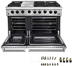 Thor Kitchen 48 inch Freestanding Pro-Style Double Oven Professional Gas Range with 6.8 Cu. Ft. Oven, 6 Burners 1 Griddle, in Stainless Steel - LRG4807U + LP Conversion Kit