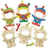 Baker Ross AX399 Weihnachtselfen Fotorahmen Dekorationen aus Holz Bastelset für Kinder - 10 Stück,...
