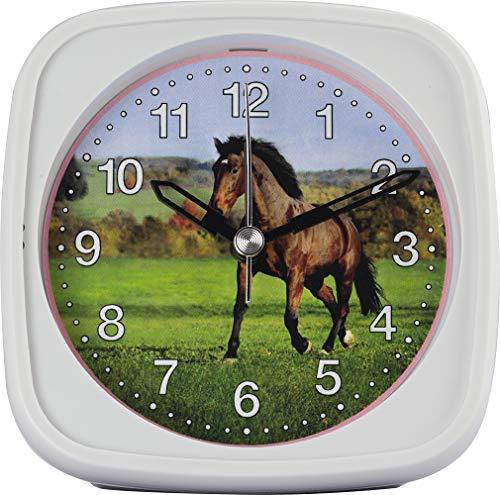 Wecker, Kinder, Quarz, für MÄDCHEN, mit Pferde-Motiv, Licht und Weckwiederholung, Maße: 95 x 95 x 45 mm