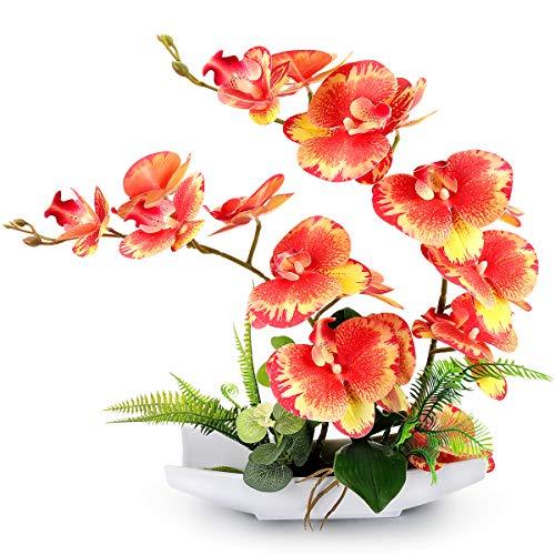 RERXN Dekorative echte Berührung gefälschte Orchidee Bonsai künstliche Blumen mit Imitation Porzellan Blumentöpfe Phalaenopsis Blumenarrangements für Home Decoration (Orange Red)