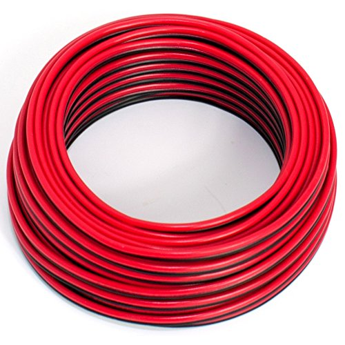 Cable para altavoz, 2 x 0,5 mm², color rojo y negro, 10 M, CCA