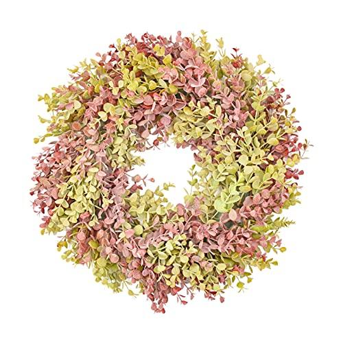Washranp Corona de seda sintética vívida respetuosa del medio ambiente de la flor de las hojas amarillas artificiales decoración de la corona para el hogar -