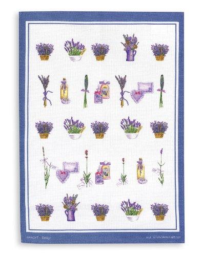 Kracht Halbleinen Geschirrtuch, Druckmotiv Lavendelkörbe, Format 50x70 cm