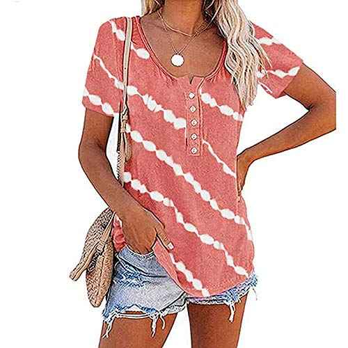 Women's Casual Loose Short Sleeve Round Neck Striped Tee Shirt Top Sexy Plus Size Tops Pink Tops for Womens Party Tops Good Vibes T Shirt($1-Pink,XL)