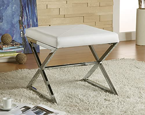 Upholstered Ottoman w Metal Base (White)