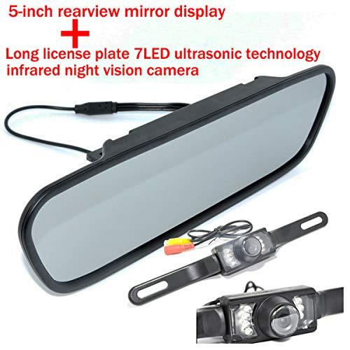 Couleur CMOS Vue de nuit infrarouge de plaque étanche Vision nocturne de 120 degrés Vue arrière de la caméra de recul avec caméra de recul avec 5 pouces Couleur TFT LCD HD Moniteur de rétroviseur