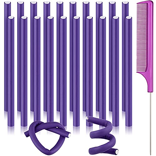20 Pieces Flexible Curling Rods Twist Foam Hair Rollers Soft Foam No Heat Hair Rods Rollers Curlers and Steel Pintail Comb Rat Tail Comb for Women Girls Long and Short Hair (0.31 x 9.4 Inch, Purple)