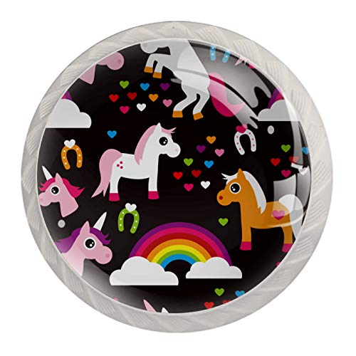 Unicorn Black Cabinet Knobs Packs Kitchen Cabinet Knobs Cupboard Handles Drawer Handles for Kitchen Cabinets Wardrobes Bookcases Chest of Drawers Set of 4