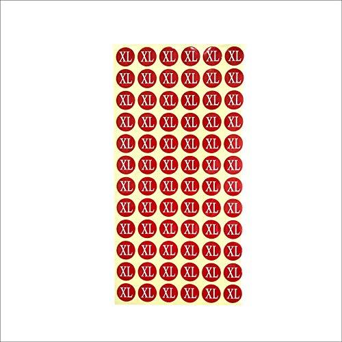 サイズシール XL サイズ 業務用 大きさ=直径1.4cm 赤地に白文字 1シートに72枚のシールが15シート(1080枚分)入り 仕分け 梱包 ラベル 服 表示 アパレル サイズ表示 size フリマ ラクマ イベント アパレル 店舗出店 在庫管理 ディ