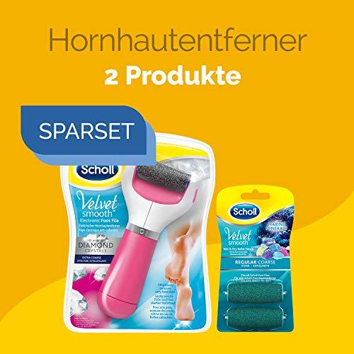 Elektrischer Hornhautentferner Express für Frauen für nasse, feuchte & trockene Füße + 2 Extra Ersatzrollen stark Scholl Velvet Smooth