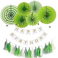 Hanamei 誕生日 飾り付け 装飾 バースデー デコレーション セット no.1 ペーパーファン タッセル スター ガーランド 男の子 pa001(グリーン)