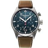 Alpina Herren Chronograph Quarz Uhr mit Leder...