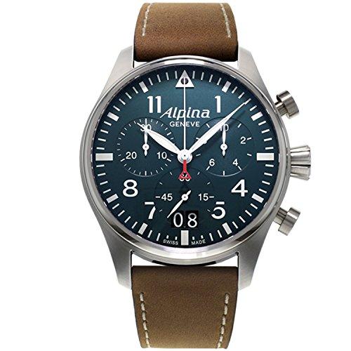 Alpina Herren Chronograph Quarz Uhr mit Leder Armband AL-372N4S6