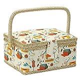 Adoture Costurero de mezcla de algodón sobre fondo natural, medio con asa, cesta con impresión de flores