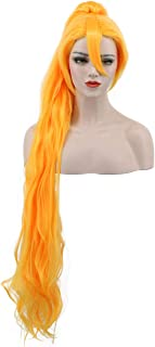 Karlery Women's Girl Long Curly Orange and Gold Wig Clip In Thick Claw Drawstring Ponytail Halloween Costume Wig Anime Cosplay Wig (Gold)
