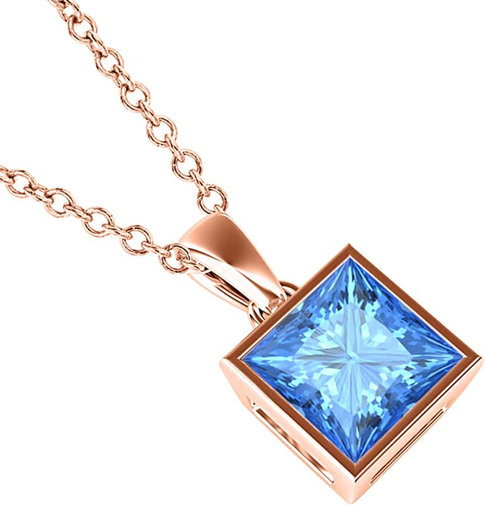 dazzlingjewelrycollection 5mm to 10mm Princess Shaped Bezel Set 14k Gold Over .925 Sterling Silver Blue Topaz Solitaire Valentines Day Special Pendant Necklace for Womens