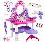 Kinderplay Tocador Niña Rosa para Niña - Tocador de Maquillaje Niña, Tocador Infantil, con Accesorios Espejo con Luz y Sonido para Niños, KP2798