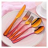 cubiertos 20pcs / set Conjuntos de cubiertos de acero inoxidable Servido para 4 Set de vajilla pulido de espejo portátil para el hogar para el hogar Appliance cuberteria (Color : Rainbow NO.3)