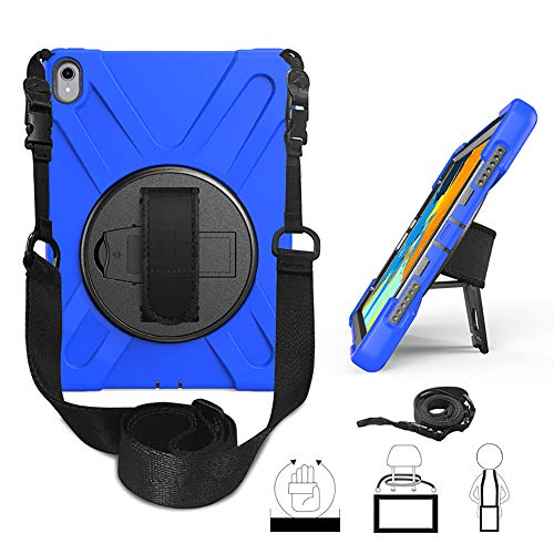 Yami iPad 9.7 2017 2018 Case 360 Degree Rotatable with Kickstand Hand Strap and Shoulder Strap case, 3 Layer Hybrid Heavy Duty Shockproof case for iPad 9.7 5th/6th Generation(Blue)