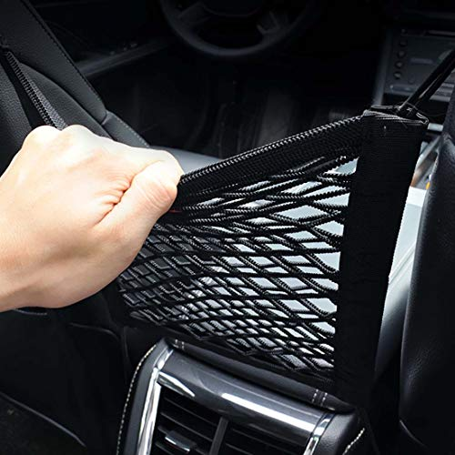 HasneAuto Car Seat Storage Mesh Organizer 2-Layer Elastic Mesh Cargo Net Hook Pouch Holder Backseat Barrier of Kids Children Pet Dog Suitable for bags, children and pet interference
