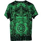 2021 Hombres Moda Vikingo Valkyrie Mjolnir Camiseta Manga Corta, Primavera Verano Casual Playa Secado Rápido Disfraz 3D Tatuaje Runas Camiseta Regalo Adolescente,Verde,XS