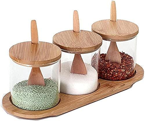 Supplying Box Smaak Case Set Houten Lepel Cover en Base Spice Season Box Glass Spacing Box Kruiden potten WSYGHP